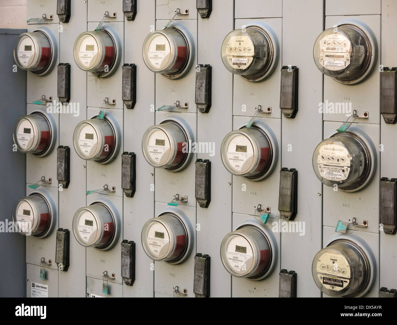 Array of Electricity Usage Meters for an Apartment Complex, USA - Stock Image