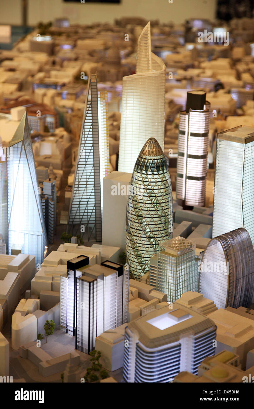 A model of skyscapers and towers that exist and are proposed to be built in the City of London Stock Photo
