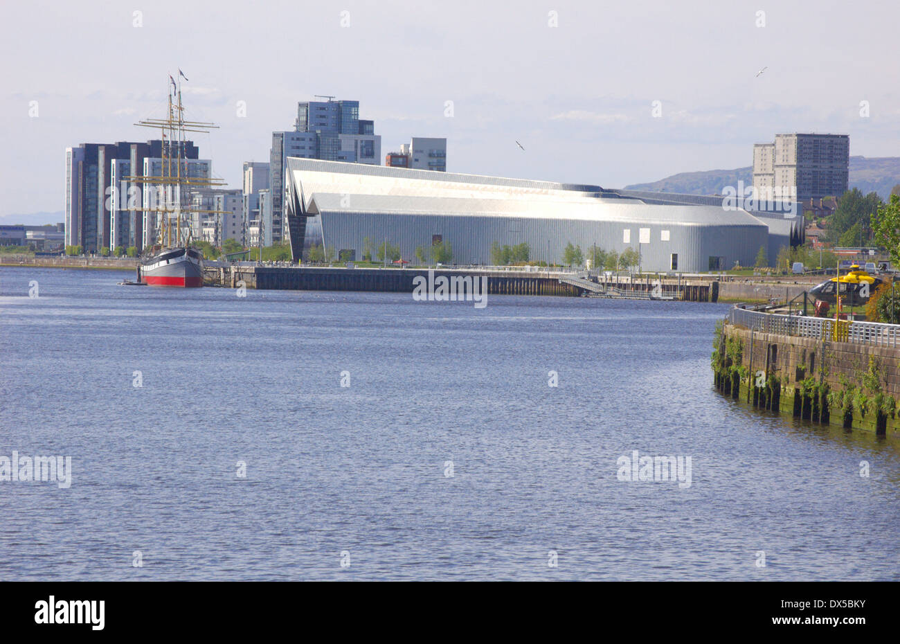 Partick waterfront and Riverside Museum in Glasgow, Scotland - Stock Image