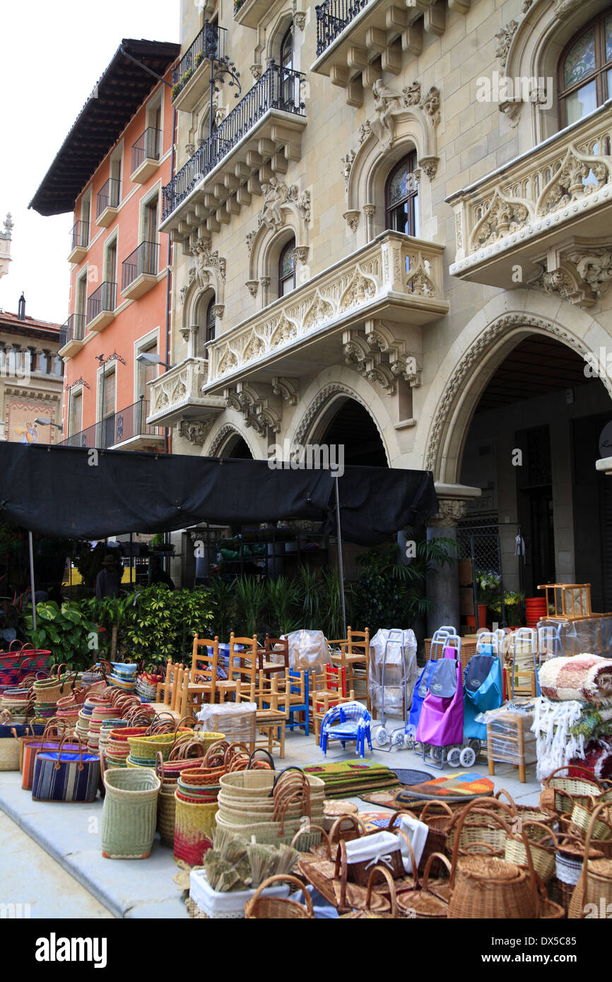 Traditional exterior market in Vic, Spain - Stock Image