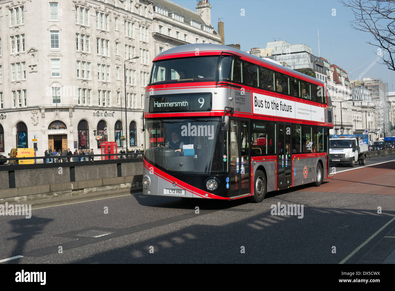 One the new Routemasters in London has been painted mainly silver to mark 2014 as the year of the bus. - Stock Image