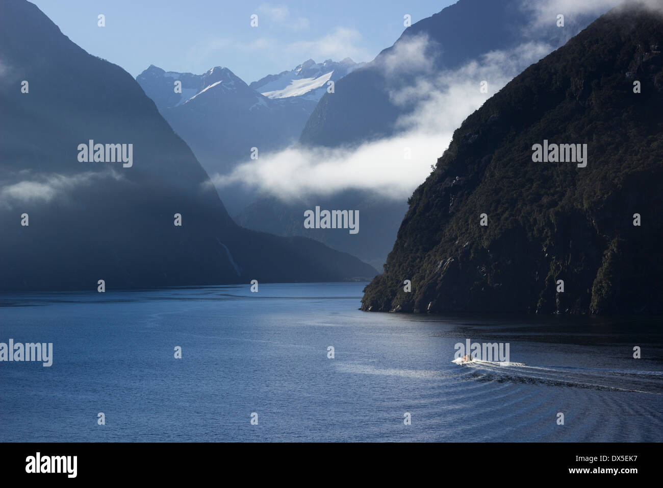 Sailing into Milford Sound, New Zealand in early morning as the sun rises above the mountains - Stock Image