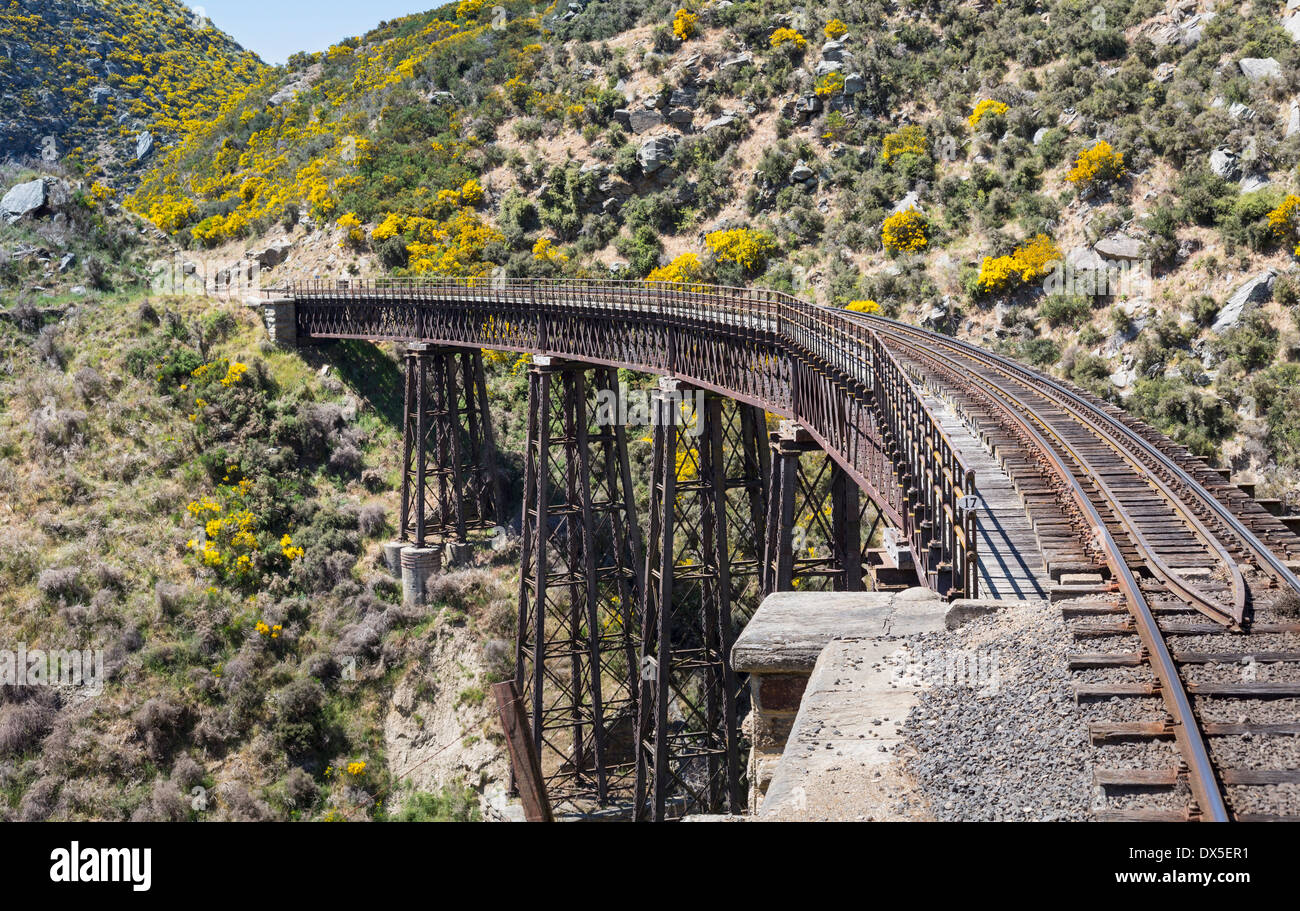 Railway track of Taieri Gorge railway, New Zealand crosses a bridge across a ravine - Stock Image