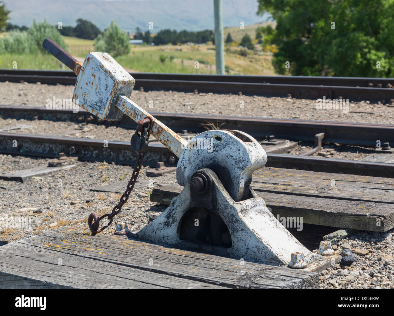 Old heavy duty points lever by railway track - Stock Image