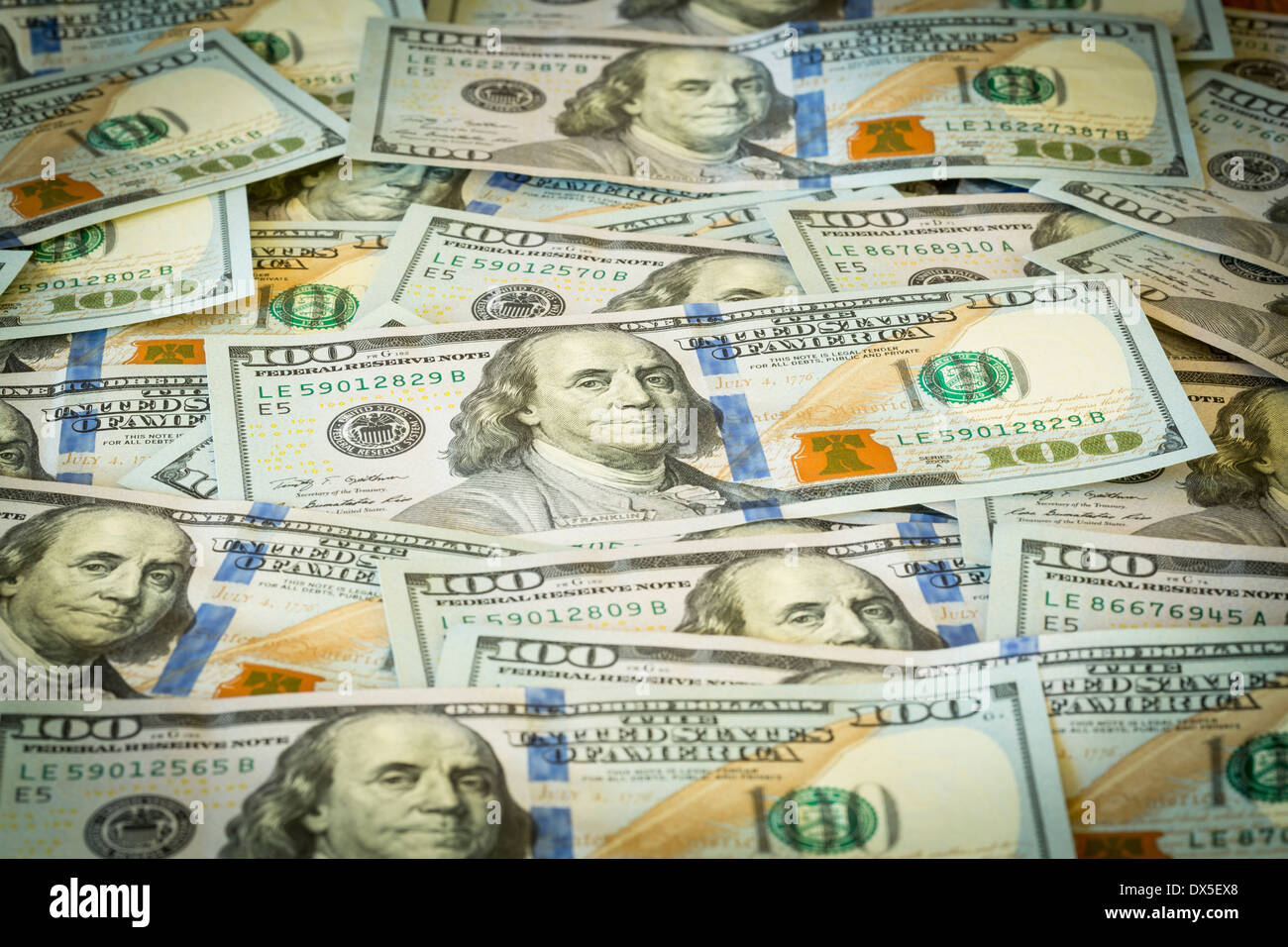 New design of US currency one hundred dollar bills - Stock Image