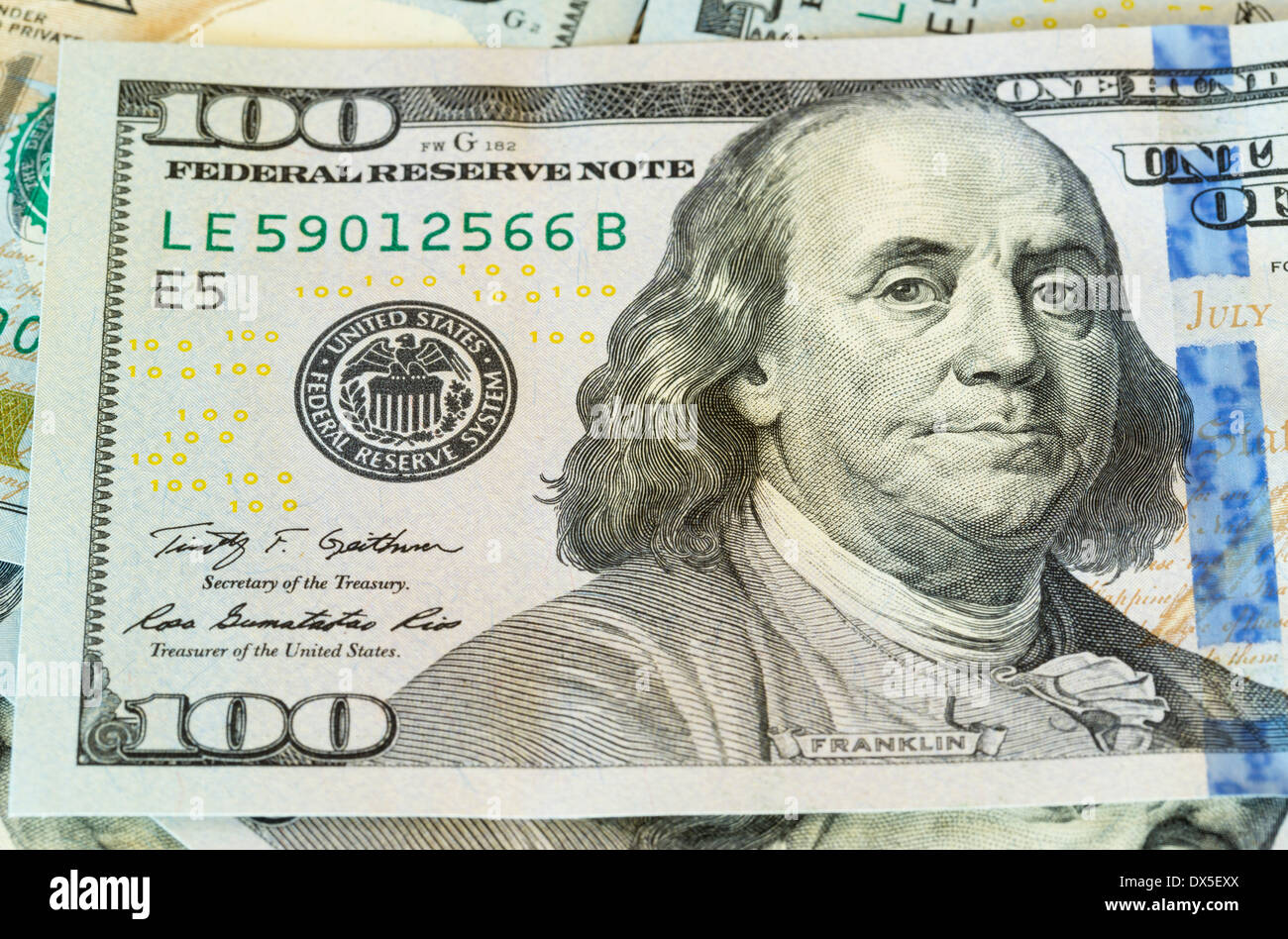 New design of US currency one hundred dollar bill - Stock Image