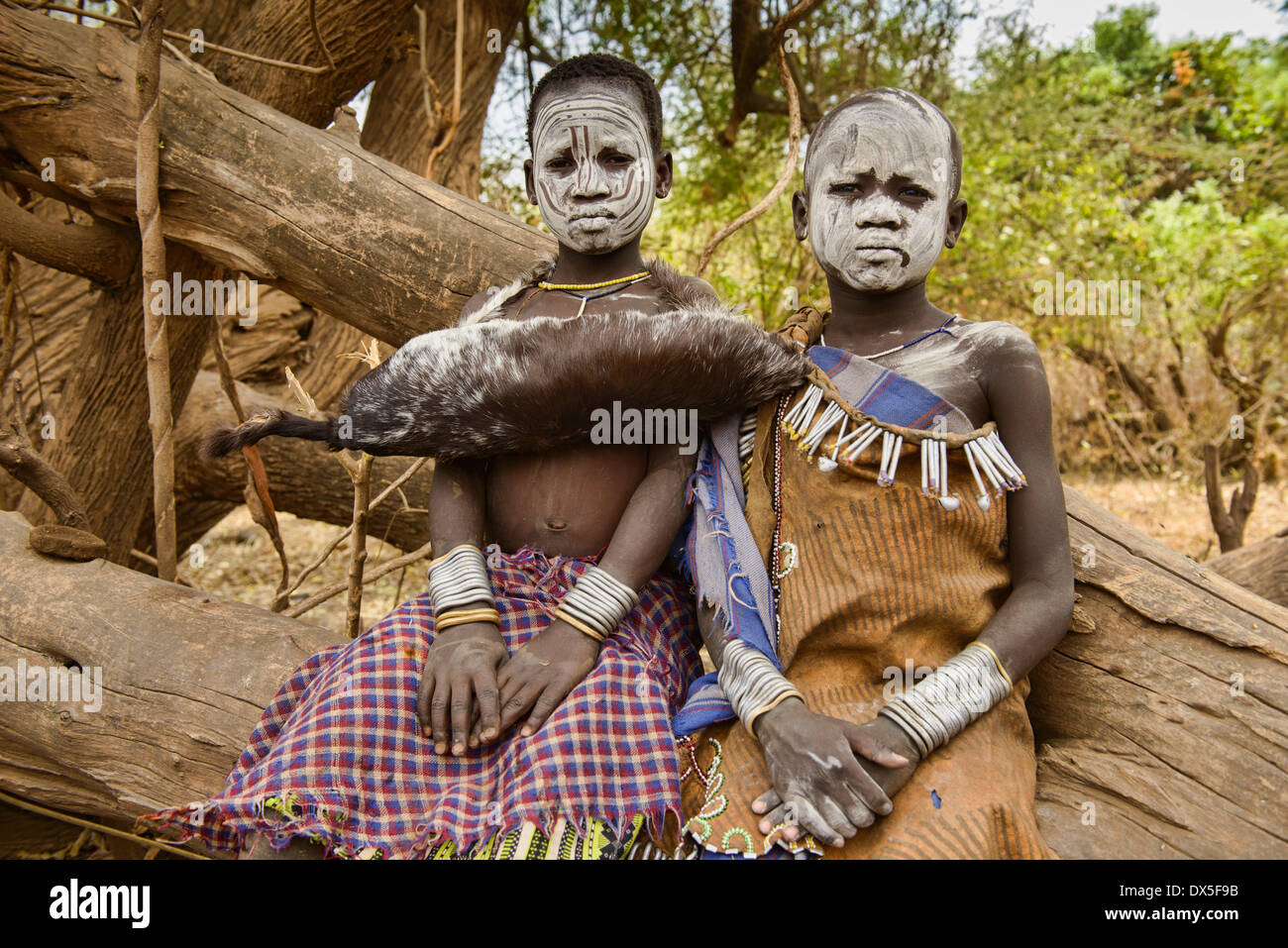 Mursi boys in the Lower Omo Valley of Ethiopia - Stock Image