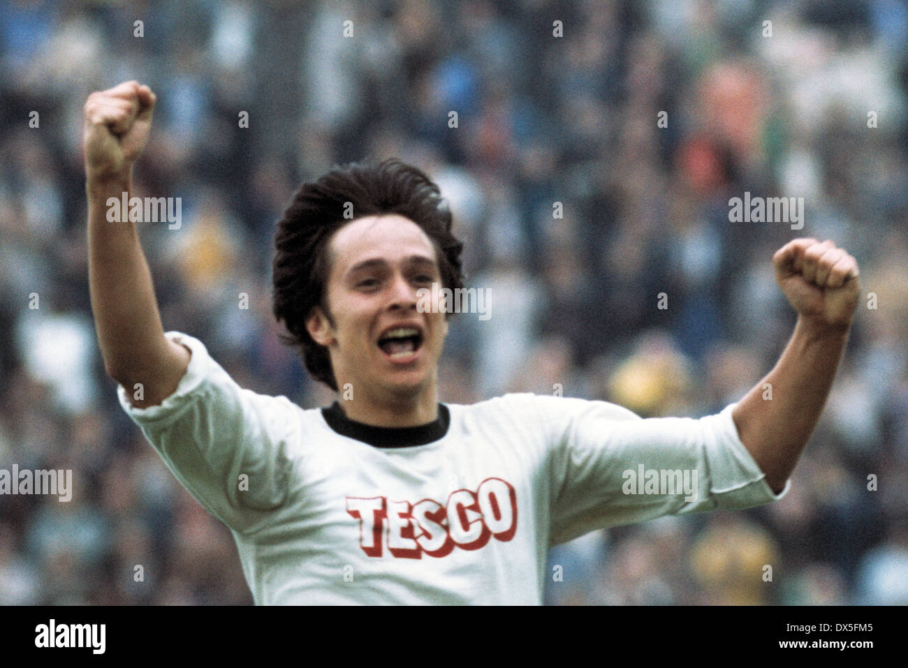football, 2. Bundesliga Nord, 1974/1975, Stadium am Uhlenkrug, ETB Schwarz Weiss Essen versus FC Bayer 05 Uerdingen 1:2, goal scorer Holger Trimhold (ETB) rejoicing at the equaliser for 1:1 - Stock Image