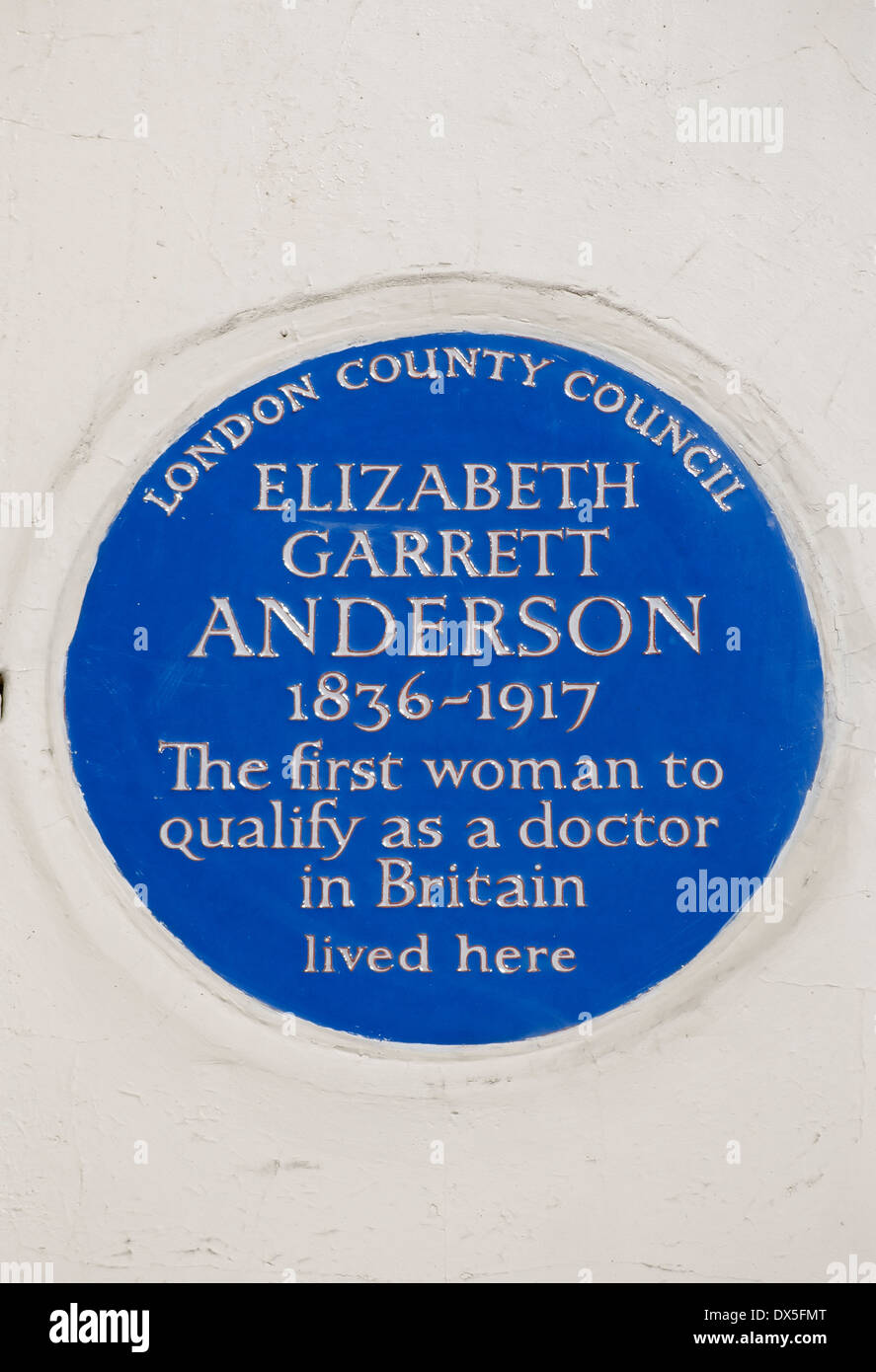 london county council blue plaque marking a home of doctor elizabeth garrett anderson, london, england - Stock Image