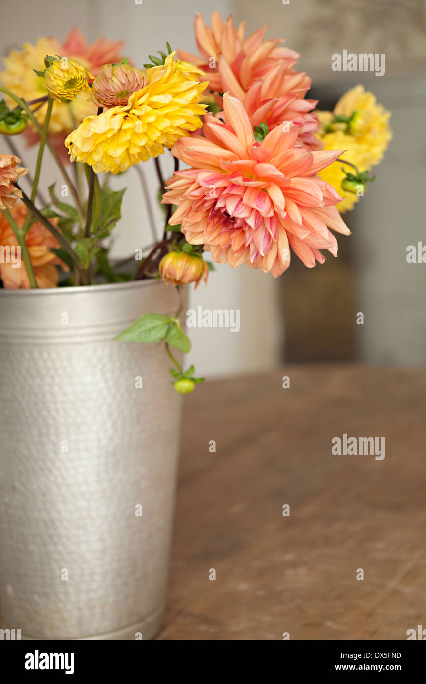 Orange and yellow dahlia bouquet in silver bucket on table - Stock Image