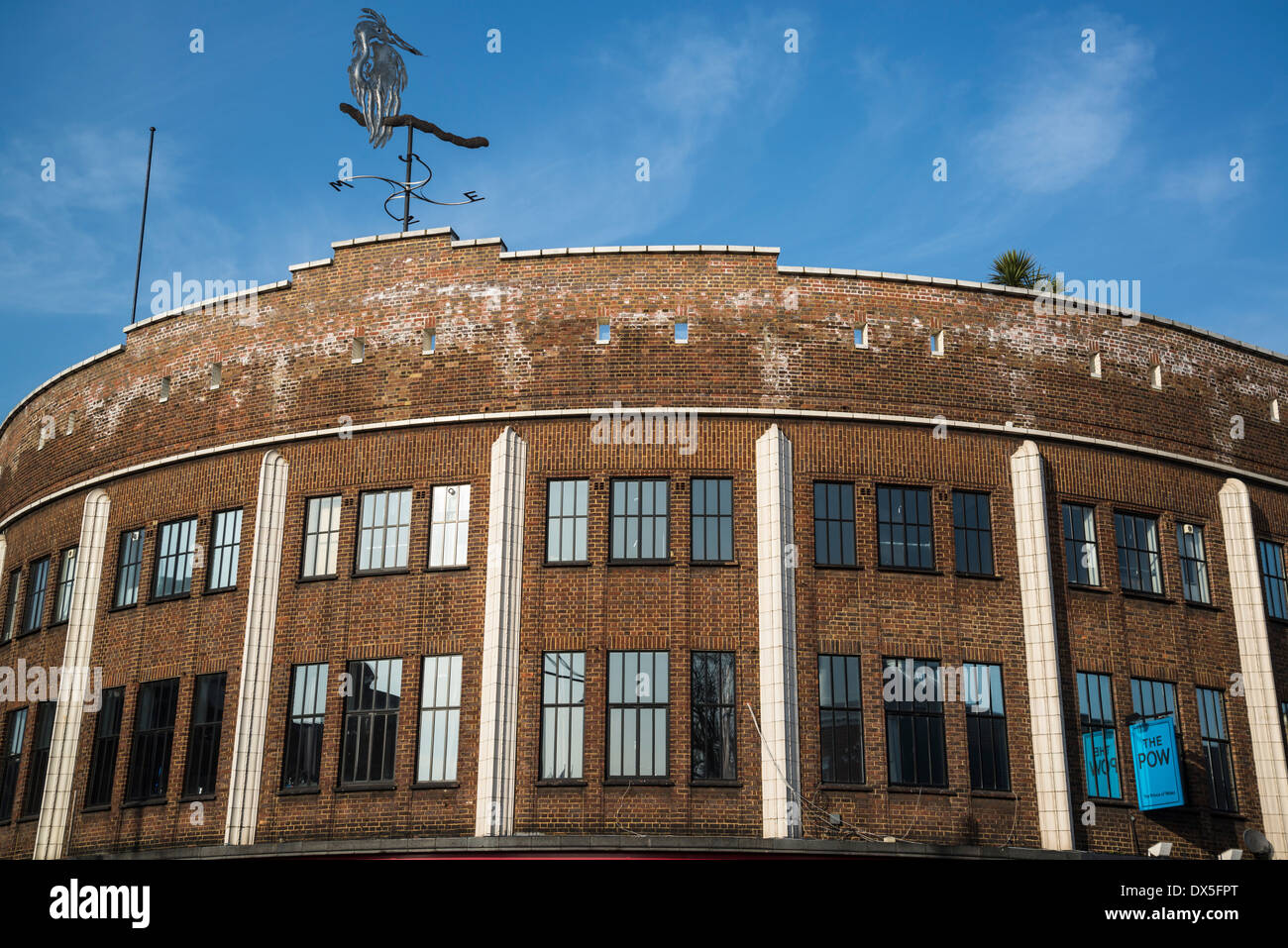 Kingfisher sculpture on top of the building at the corner of Coldharbour Lane and Brixton Road, Brixton, London, UK - Stock Image