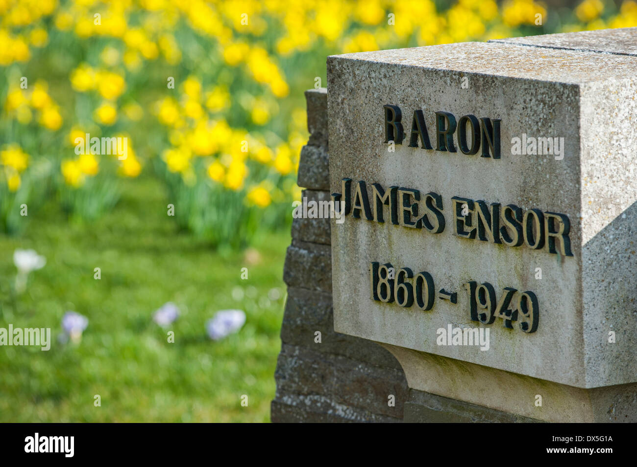 Tombstone of painter James Ensor at graveyard of church Onze-Lieve-Vrouw-ter-Duinen / Our Lady of the Dunes, Mariakerke, Belgium - Stock Image