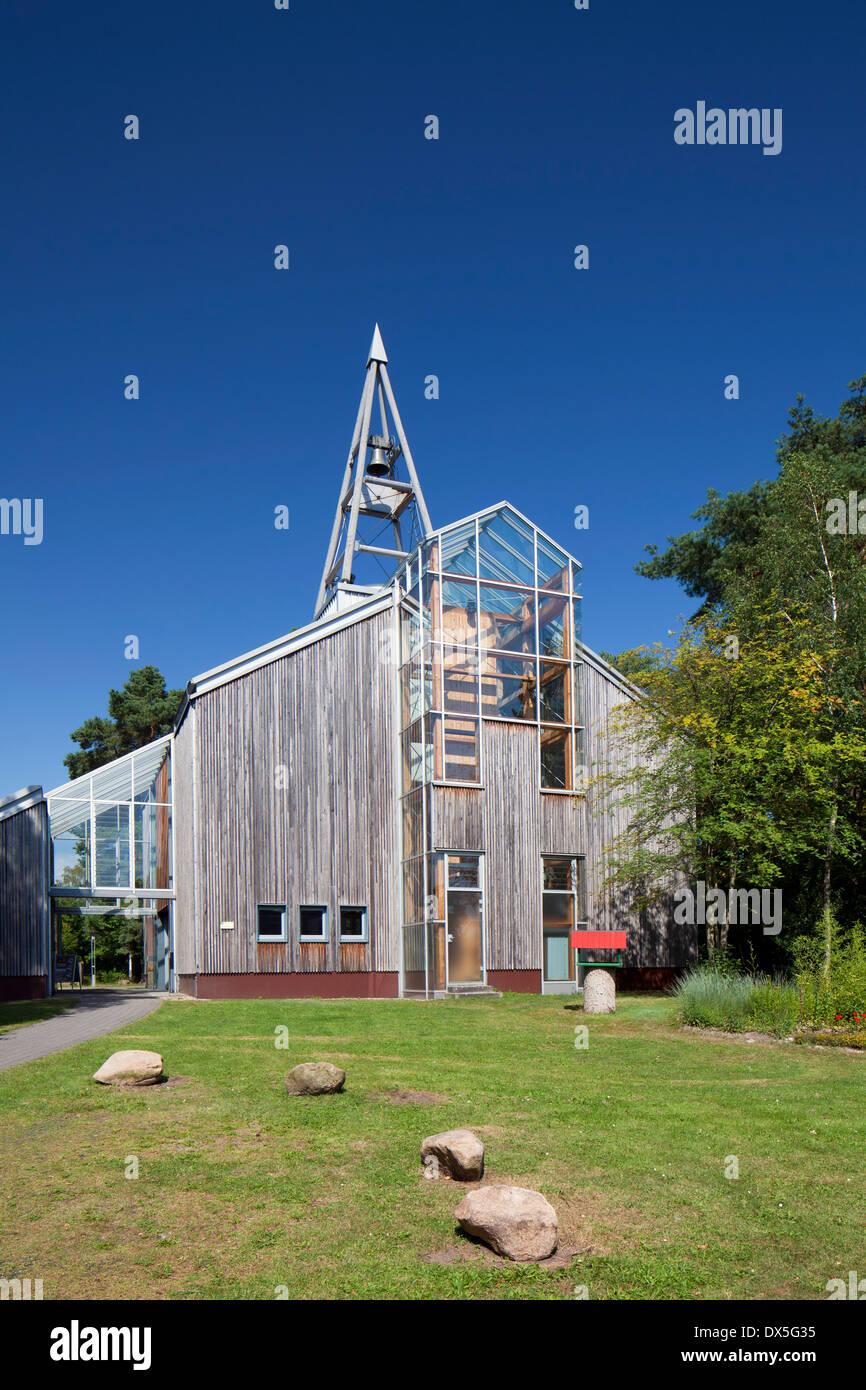The One-World-Church / Eine-Welt-Kirche in Schneverdingen, Lüneburg Heath / Lunenburg Heathland, Lower Saxony, Germany - Stock Image