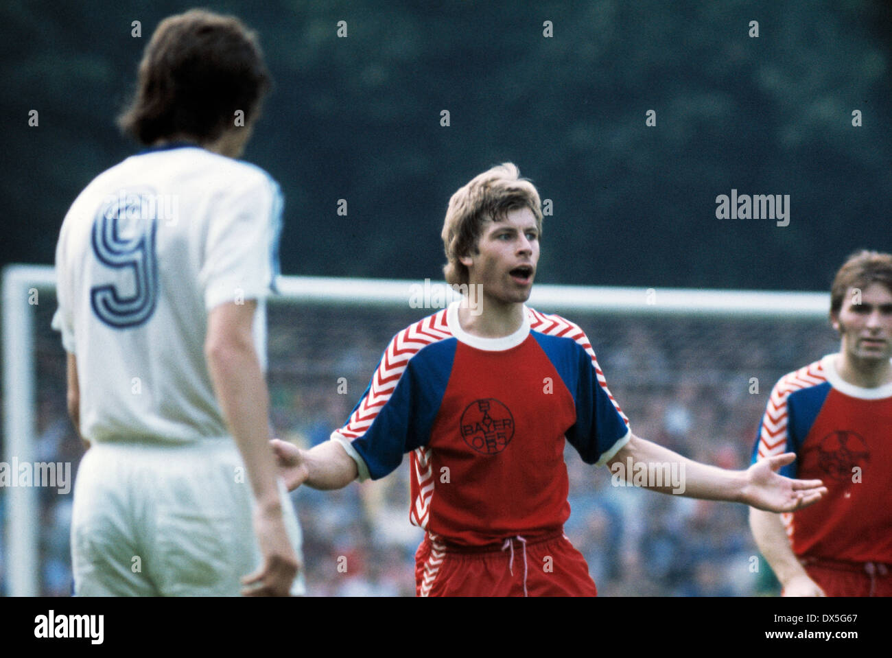 football, 2. Bundesliga Nord, 2. Bundesliga Sued, 1974/1975, relegation match to Bundesliga 1975/1976, return leg, Grotenburg Stadium in Krefeld, FC Bayer 05 Uerdingen versus FK Pirmasens 6:0, scene of the match, Norbert Brinkmann (Uerdingen) - Stock Image