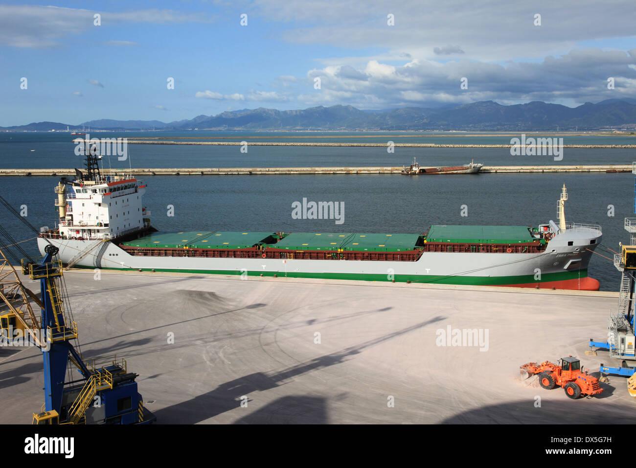 Italian general cargo ship SARA PRIMA docked in Cagliari Sardinia Italy - Stock Image