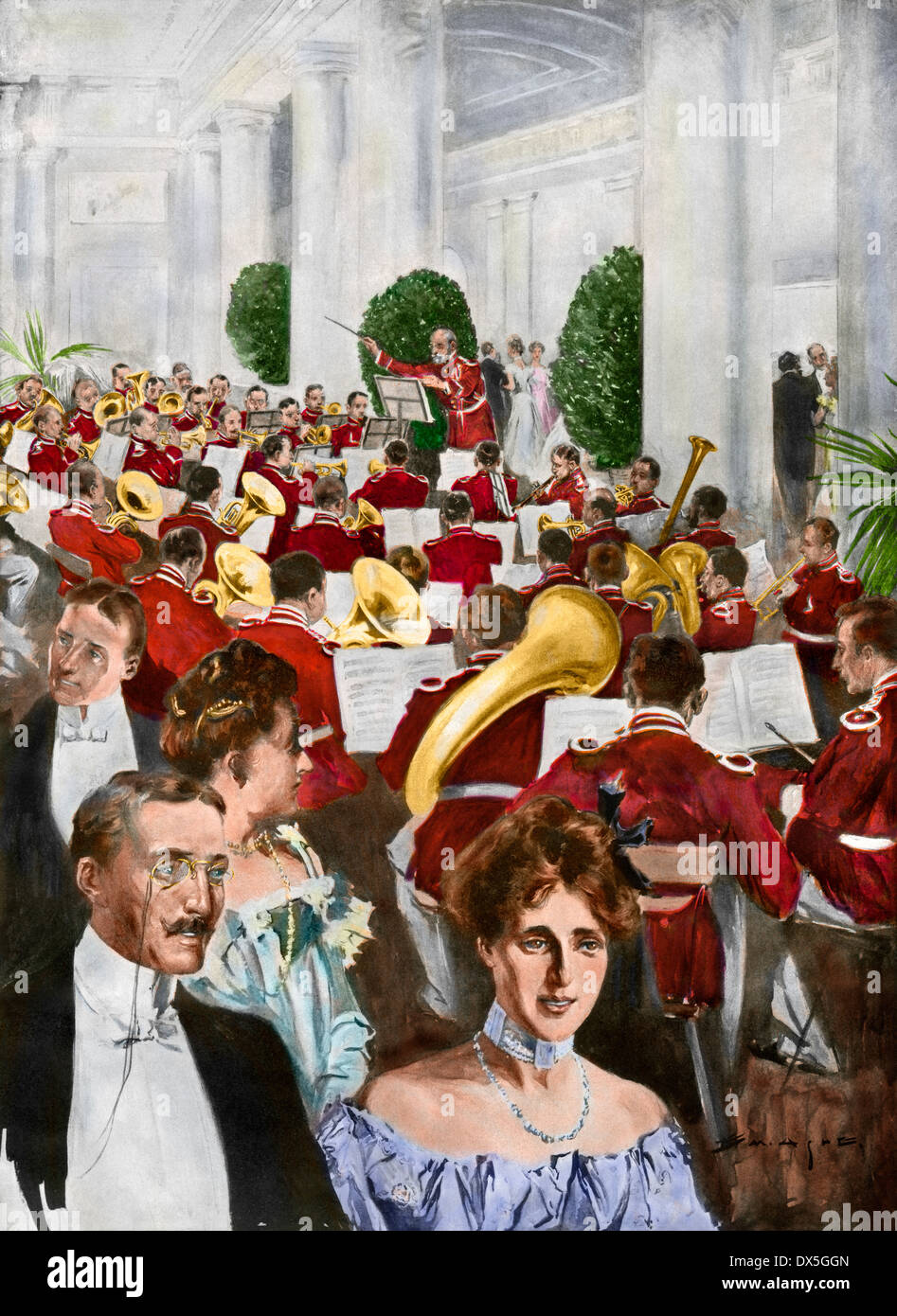 US Marine Band playing at the White House as guests proceed to meet President Theodore Roosevelt, 1903. Hand-colored halftone of an illustration - Stock Image