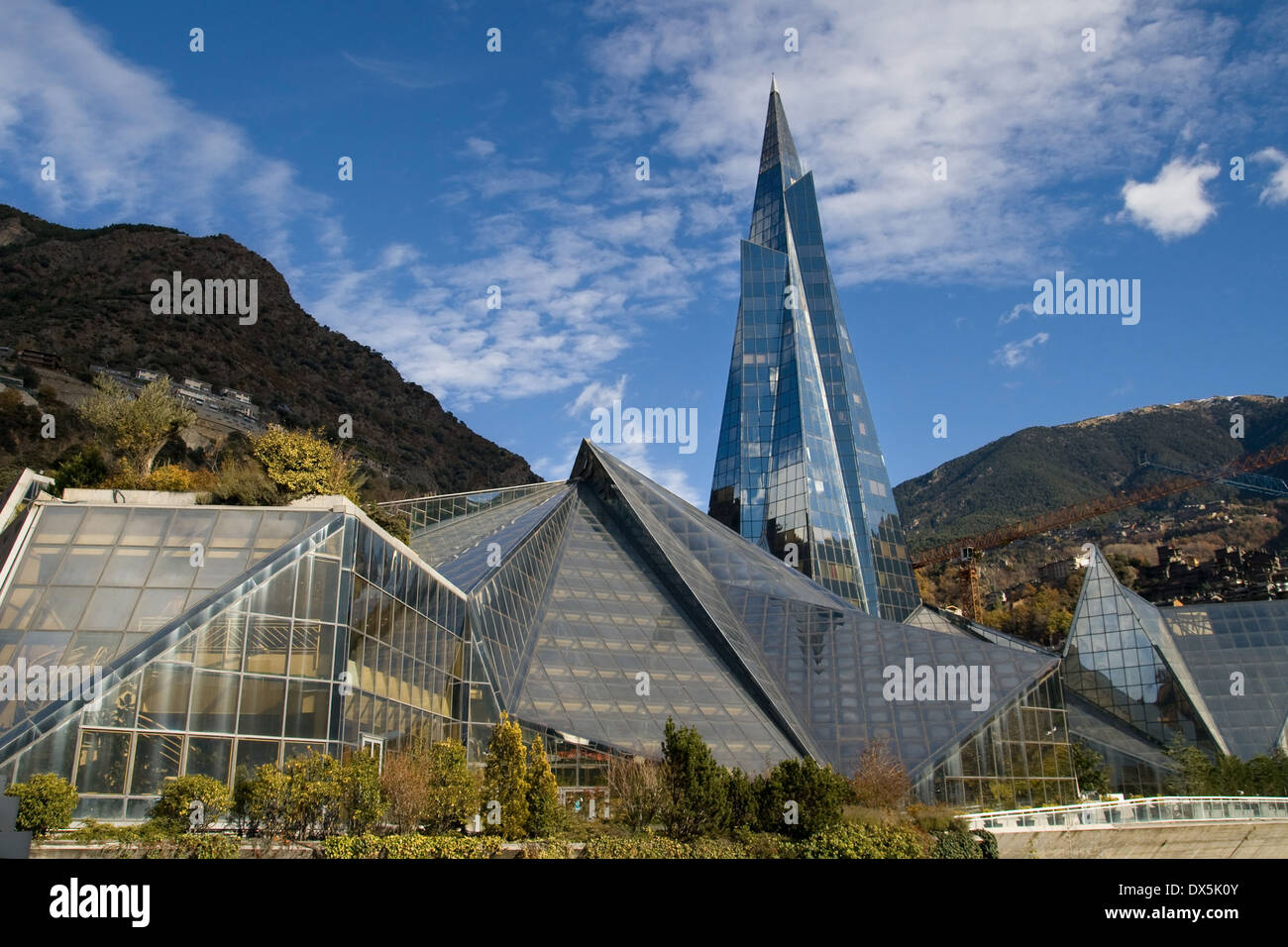 Modern glass pyramid building in Escaldes-Engordany, Andorra. - Stock Image