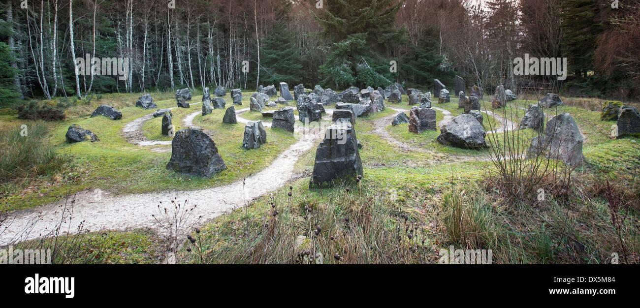 The Touchstone maze at Blackmuir Forest in Strathpeffer, Scotland. Stock Photo