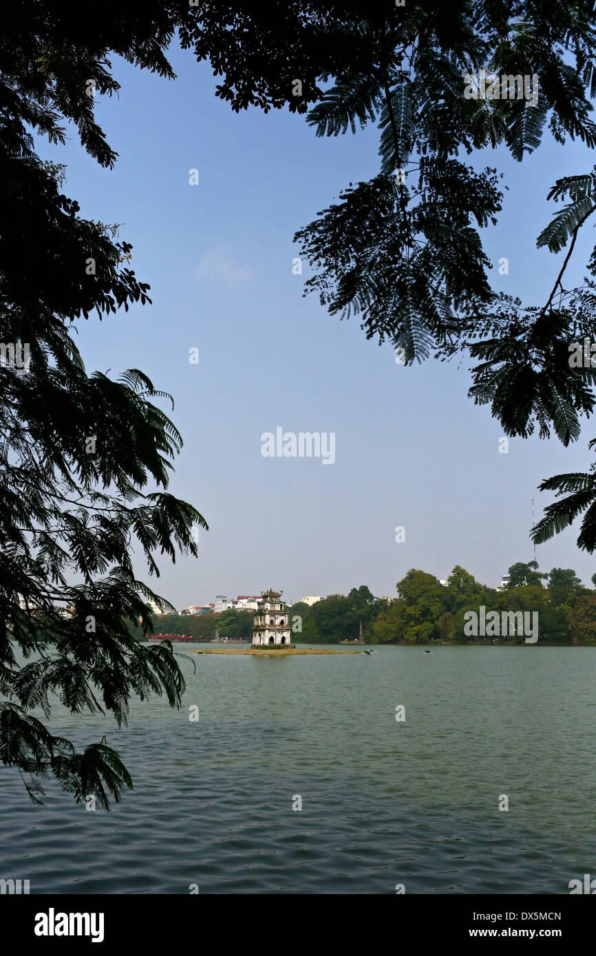 Hoan Kiem Lake and the Turtle Tower, Hanoi, Vietnam, South East Asia - Stock Image