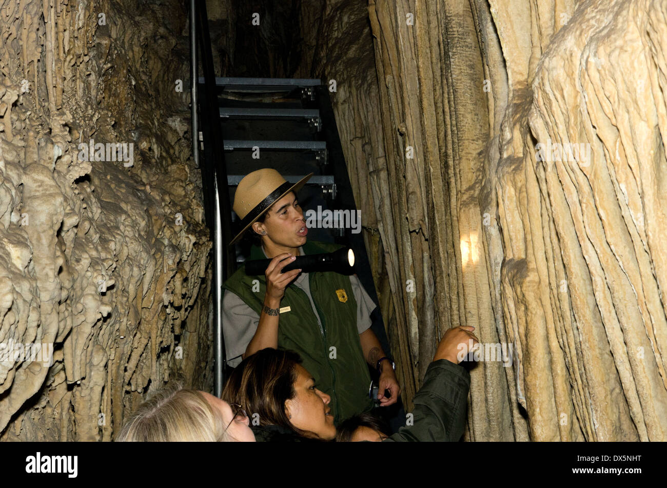 Lehman Caves, Guide shines flashllight on geological formation - Stock Image