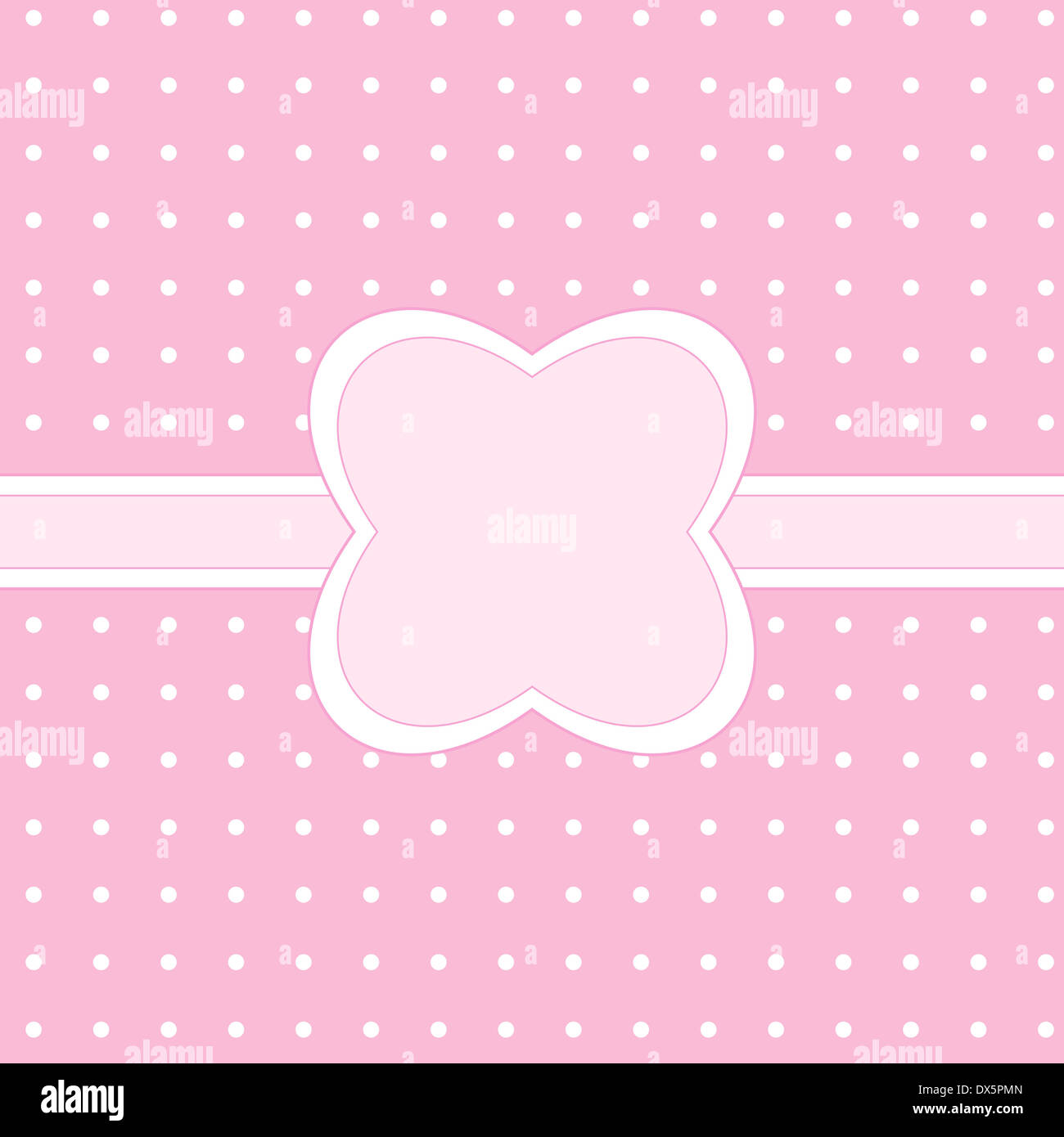 Pink banner design on polka dots Stock Photo