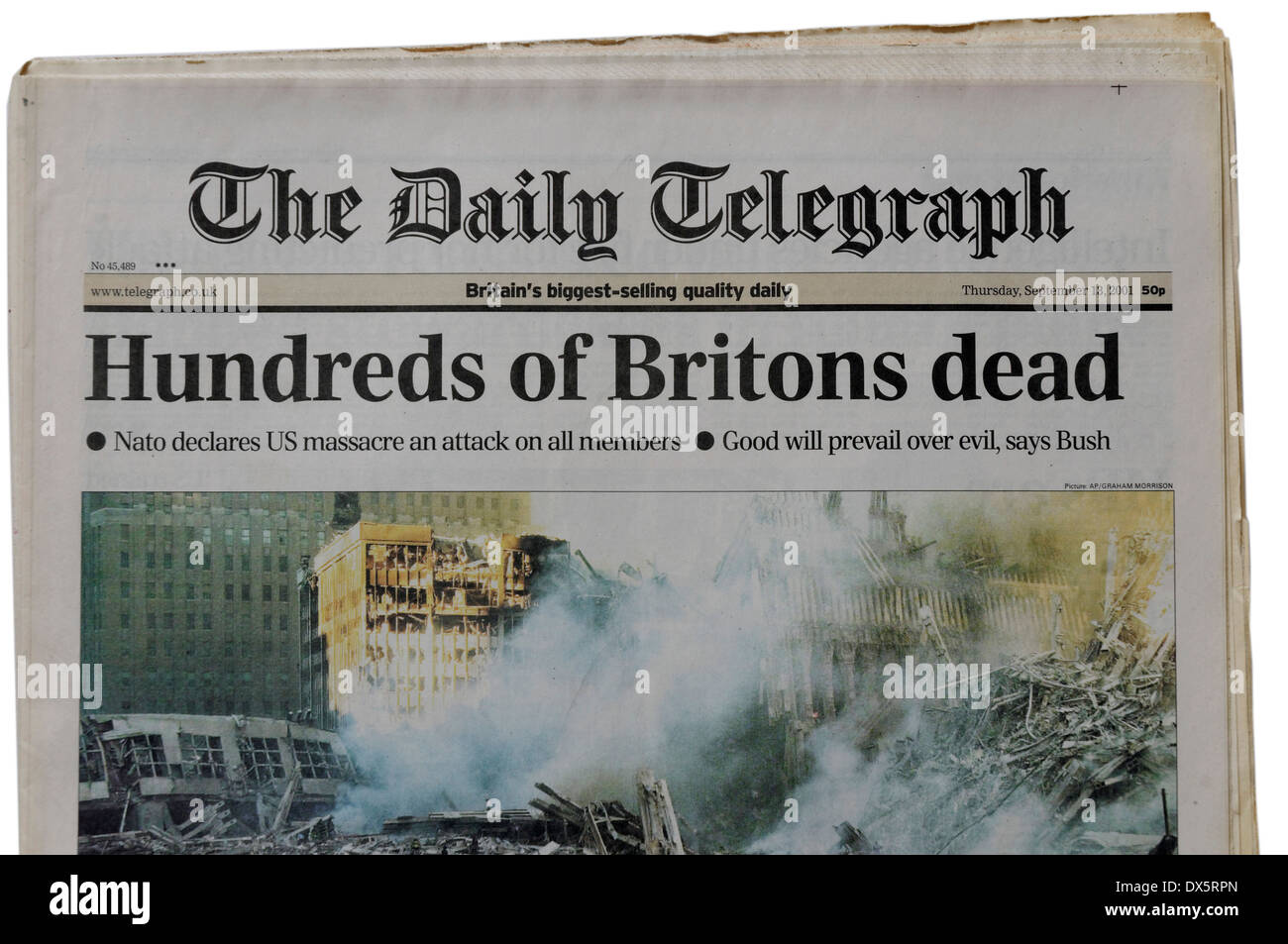 The Daily Telegraph from September 13th 2001 announcing the loss of British lives in the New York attacks - Stock Image