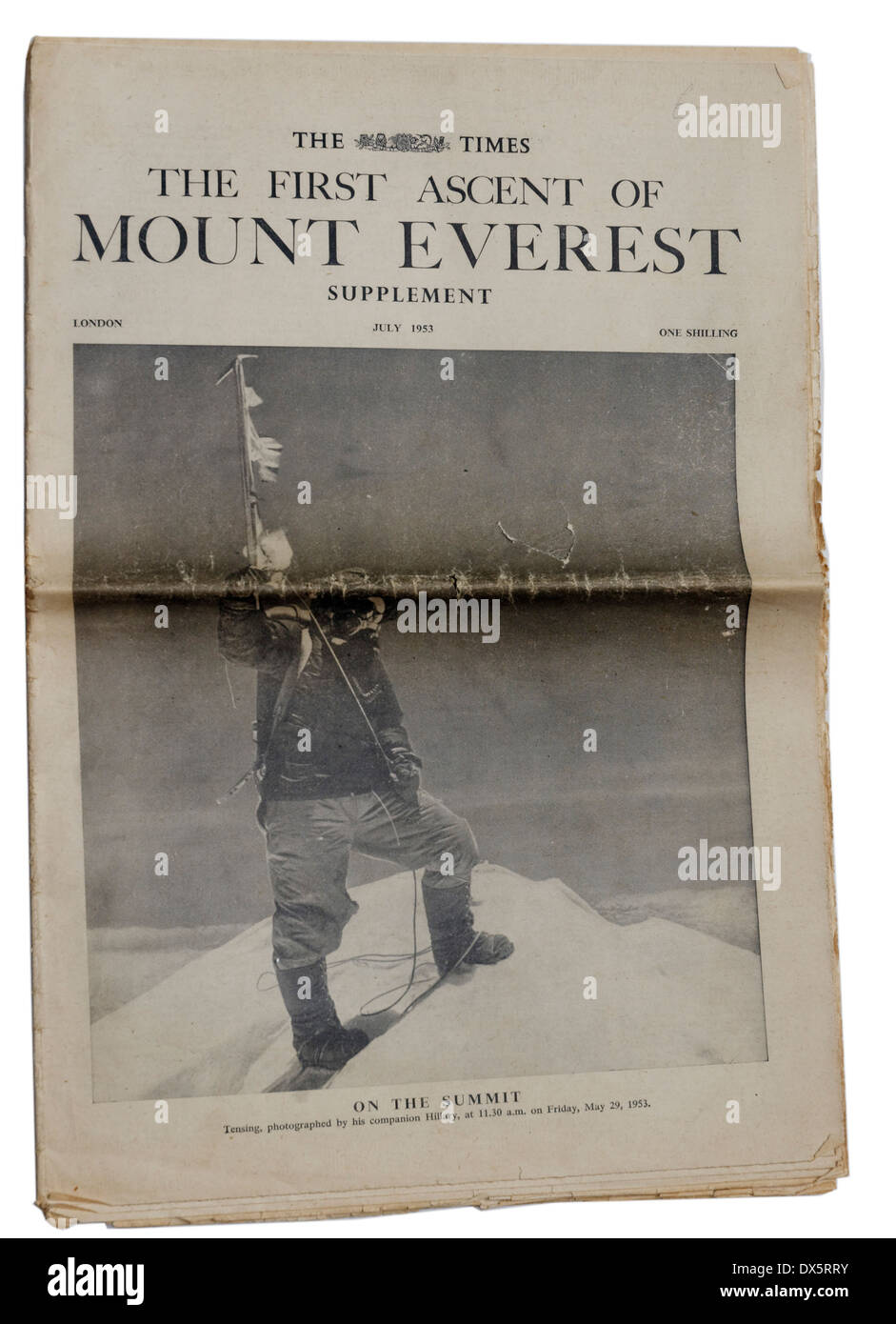 The Times supplement from 1953 announcing the first ascent of Mount Everest - Stock Image
