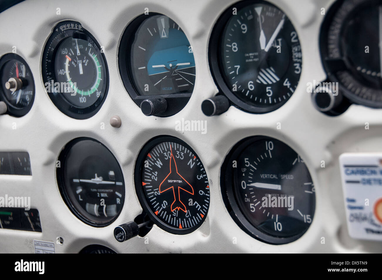 airplane dashboard - Stock Image