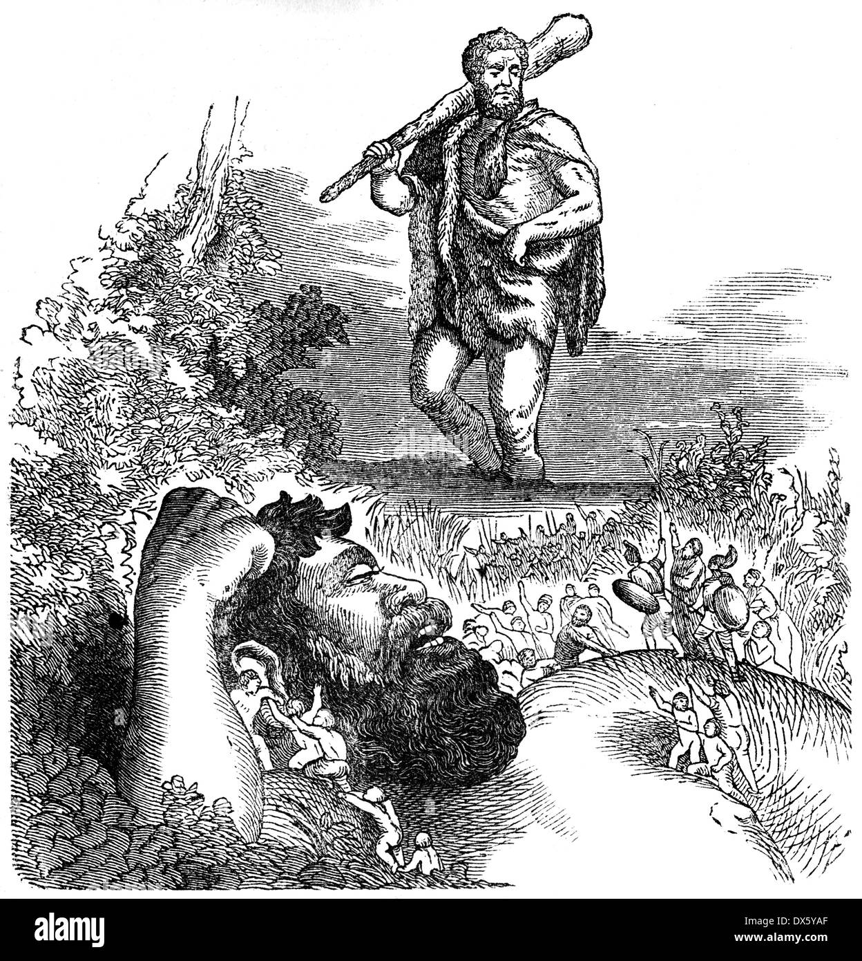Heracles and Pygmy, illustration from book dated 1878 - Stock Image