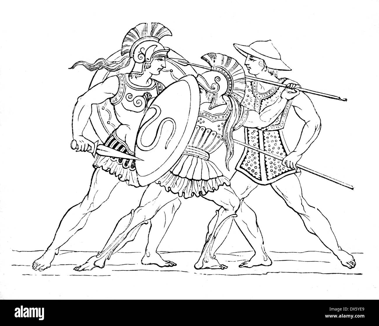 Ancient Greek warriors, illustration from book dated 1878 - Stock Image
