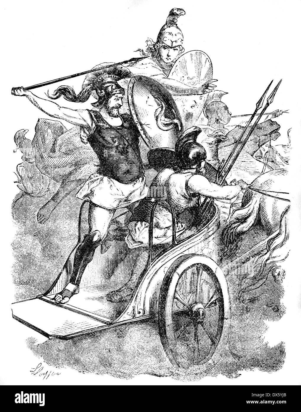 Diomedes on chariot, illustration from book dated 1878 - Stock Image