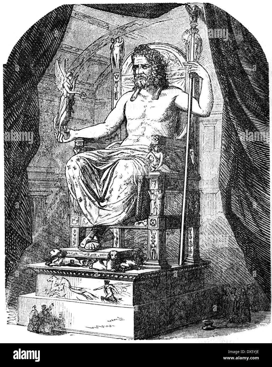 Olympian Zeus statue, illustration from book dated 1878 - Stock Image