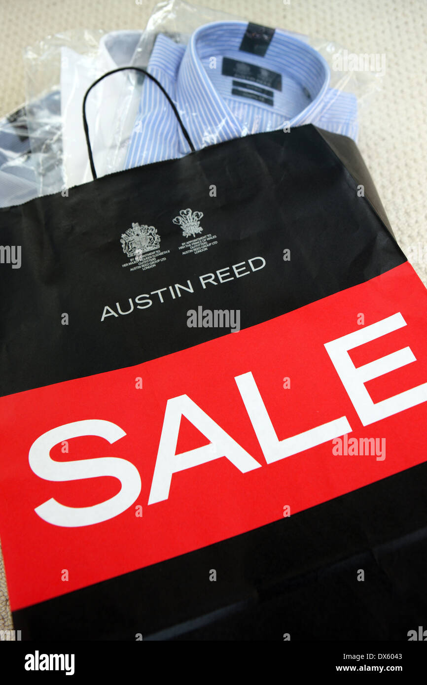 Austin Reed Sale Bag With Shirts Showing At The Top Stock Photo Alamy