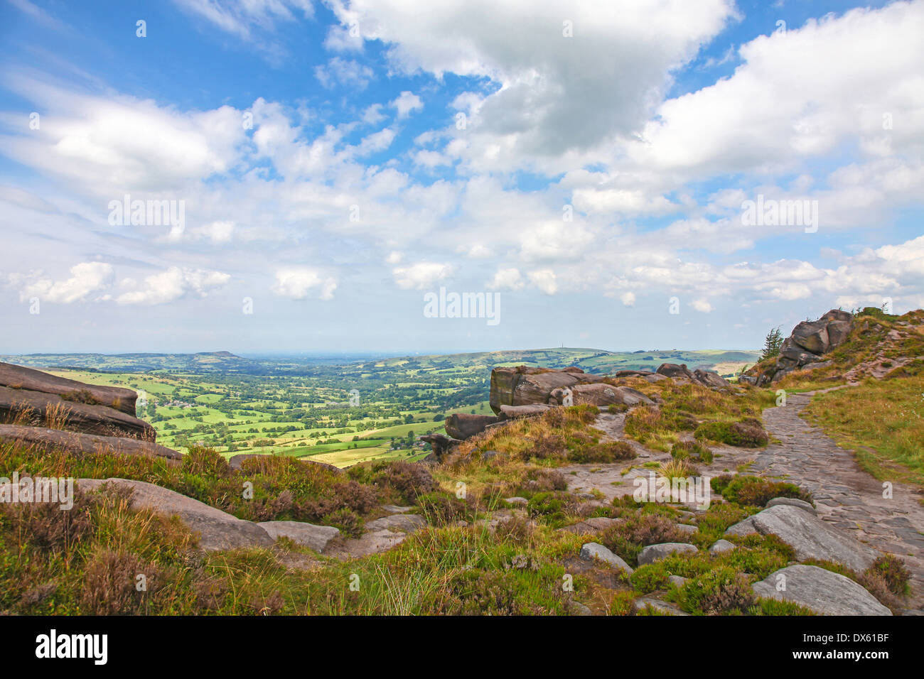 An expansive view over Cheshire and Staffordshire from on top of The Roaches Staffordshire - Stock Image
