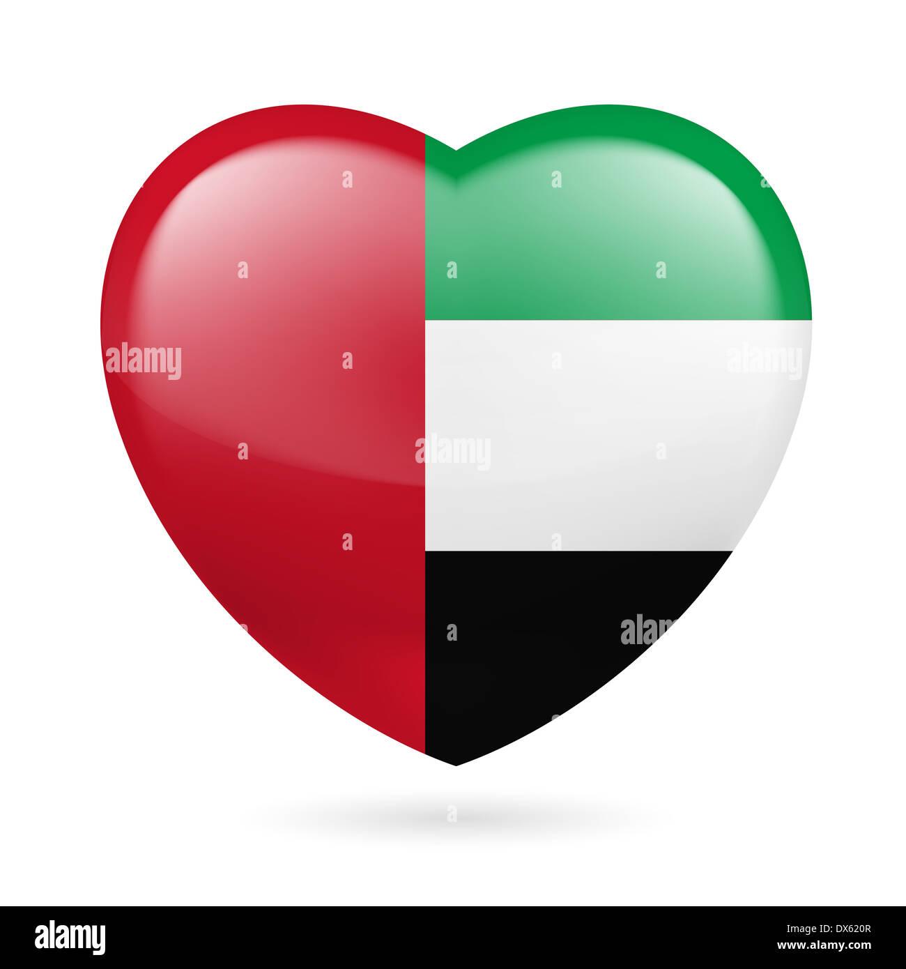 Heart with United Arab Emirates flag colors. I love UAE - Stock Image