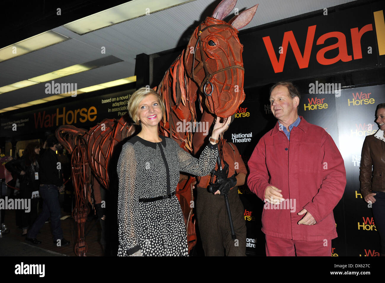 Marianne Elliott and Michael Morpurgo Attends the 5th anniversary performance of 'War Horse' at The New London Theatre, Drury Lane London, England - 25.10.12 Featuring: Marianne Elliott and Michael Morpurgo Where: London, United Kingdom When: 26 Oct 2012 - Stock Image