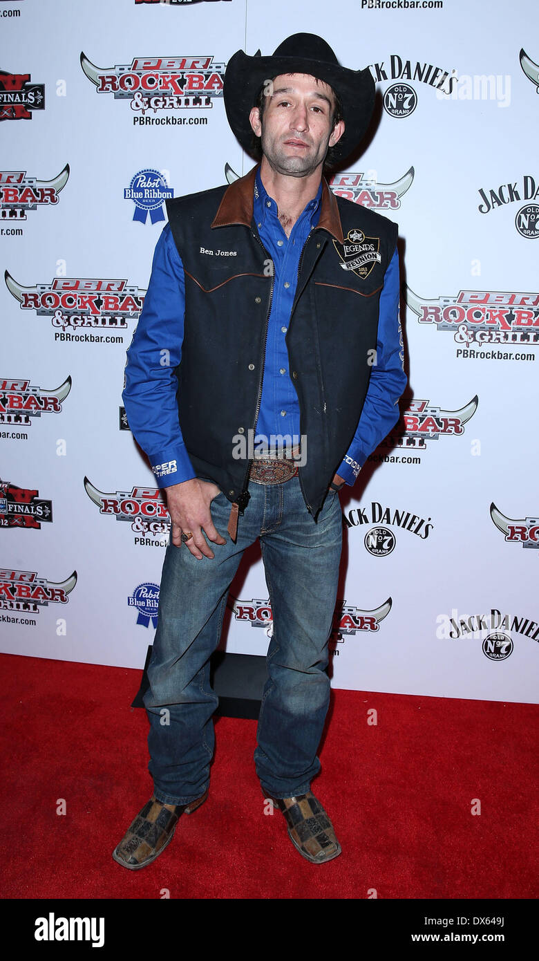 Ben Jones Professional Bull Rider Superstars walk the red carpet at PBR Rock Bar inside The Miracle Mile Shops at Planet Hollywood Resort and Casino Las Vegas, Nevada - 26.10.12 Featuring: Ben Jones Where: United States When: 26 Oct 2012 - Stock Image