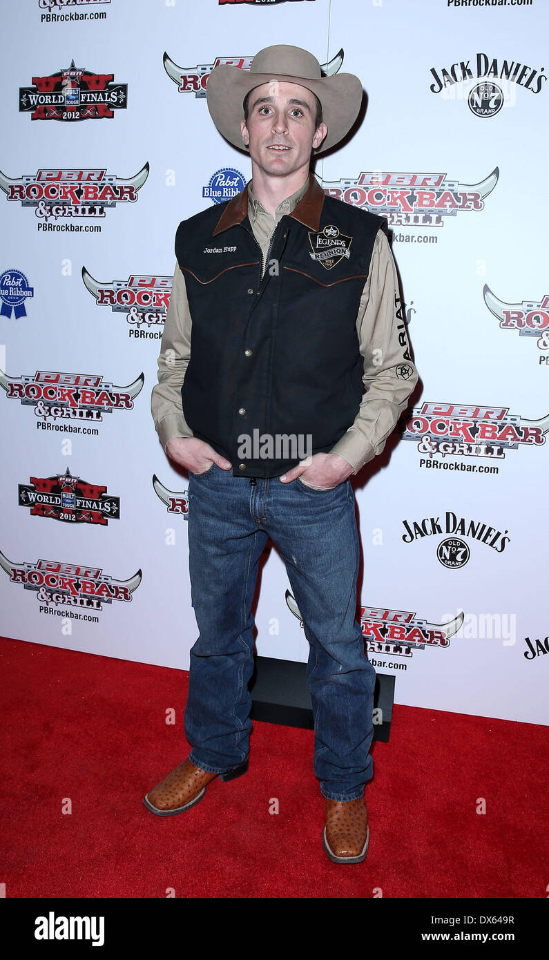 Jordan Hupp Professional Bull Rider Superstars walk the red carpet at PBR Rock Bar inside The Miracle Mile Shops at Planet Hollywood Resort and Casino Las Vegas, Nevada - 26.10.12 Featuring: Jordan Hupp Where: United States When: 26 Oct 2012 - Stock Image