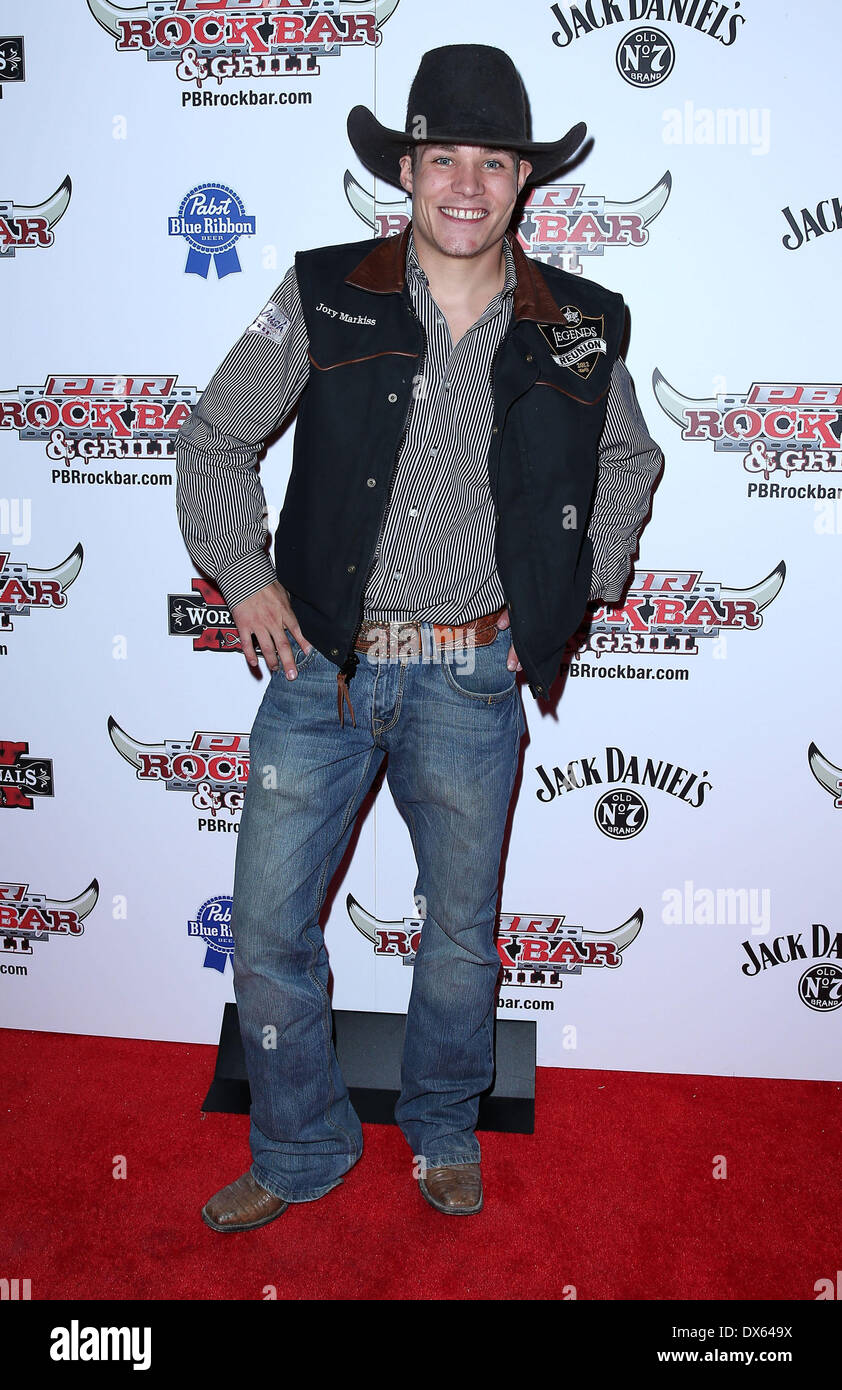 Jory Markiss Professional Bull Rider Superstars walk the red carpet at PBR Rock Bar inside The Miracle Mile Shops Stock Photo
