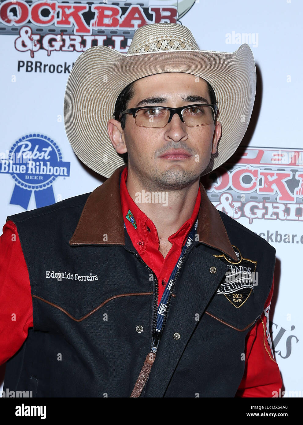 Edevaldo Ferrelra Professional Bull Rider Superstars walk the red carpet at PBR Rock Bar inside The Miracle Mile Shops at Planet Hollywood Resort and Casino Las Vegas, Nevada - 26.10.12 Featuring: Edevaldo Ferrelra Where: United States When: 26 Oct 2012 - Stock Image