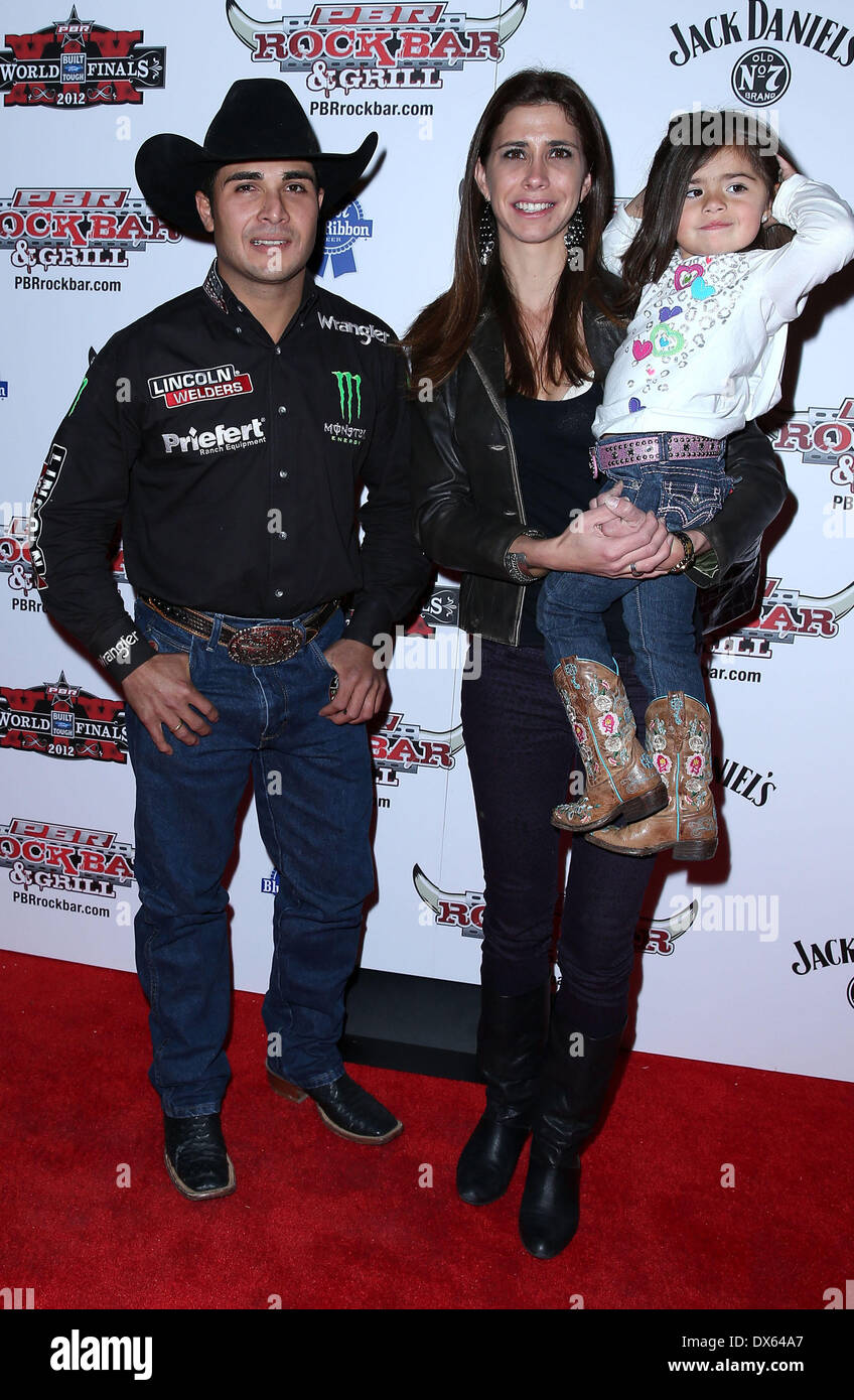 Robson Palermo and family Professional Bull Rider Superstars walk the red carpet at PBR Rock Bar inside The Miracle Mile Shops at Planet Hollywood Resort and Casino Las Vegas, Nevada - 26.10.12 Featuring: Robson Palermo and family Where: United States When: 26 Oct 2012 - Stock Image