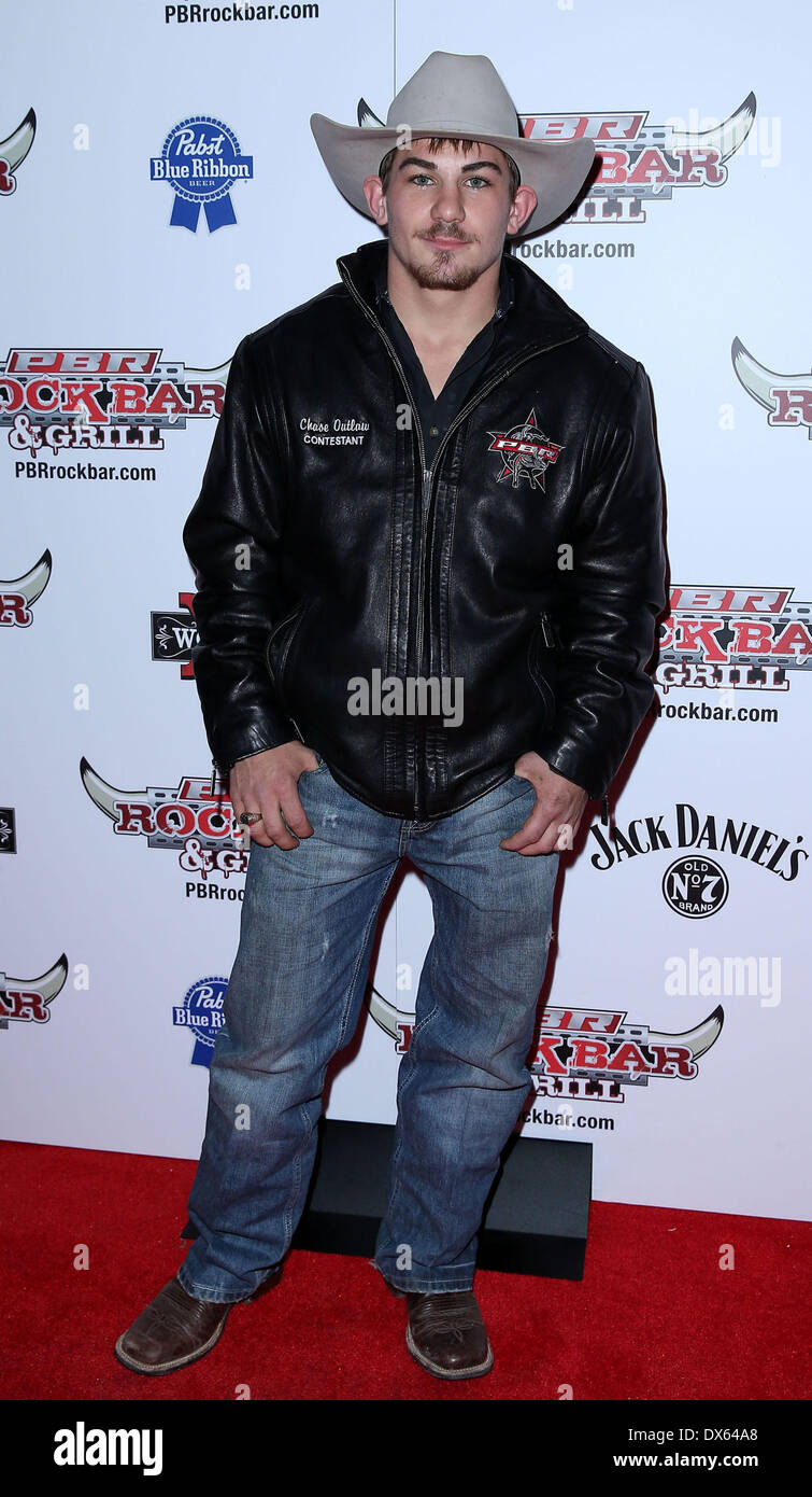 Chase Outlaw Professional Bull Rider Superstars walk the red carpet at PBR Rock Bar inside The Miracle Mile Shops at Planet Hollywood Resort and Casino Las Vegas, Nevada - 26.10.12 Featuring: Chase Outlaw Where: United States When: 26 Oct 2012 - Stock Image