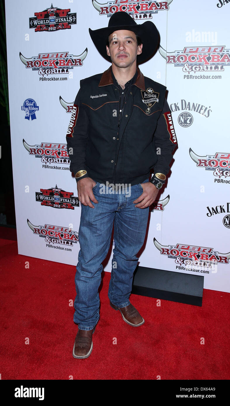 Agnoldo Cardozo Professional Bull Rider Superstars walk the red carpet at PBR Rock Bar inside The Miracle Mile Shops at Planet Hollywood Resort and Casino Las Vegas, Nevada - 26.10.12 Featuring: Agnoldo Cardozo Where: United States When: 26 Oct 2012 - Stock Image