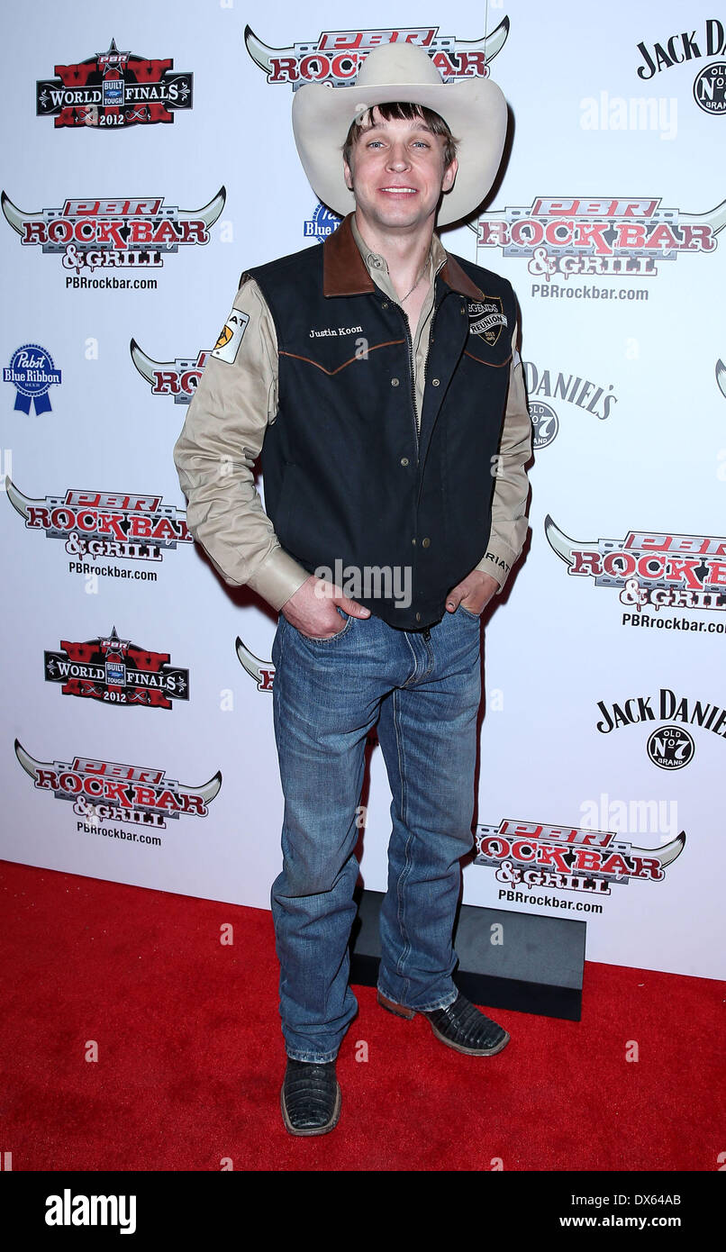 Justin Koon Professional Bull Rider Superstars walk the red carpet at PBR Rock Bar inside The Miracle Mile Shops at Planet Hollywood Resort and Casino Las Vegas, Nevada - 26.10.12 Featuring: Justin Koon Where: United States When: 26 Oct 2012 - Stock Image