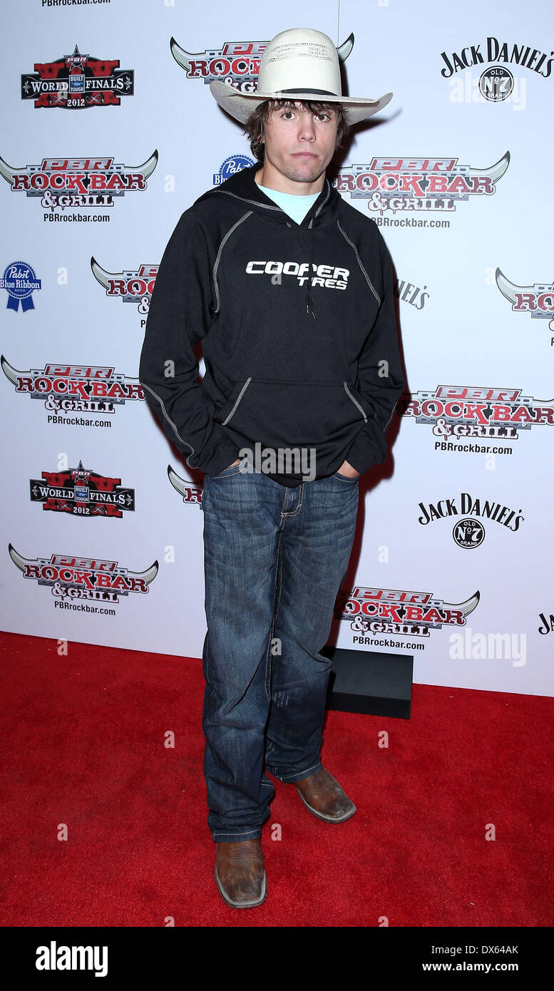 Lachlan Richardson Professional Bull Rider Superstars walk the red carpet at PBR Rock Bar inside The Miracle Mile Shops at Planet Hollywood Resort and Casino Las Vegas, Nevada - 26.10.12 Featuring: Lachlan Richardson Where: United States When: 26 Oct 2012 - Stock Image