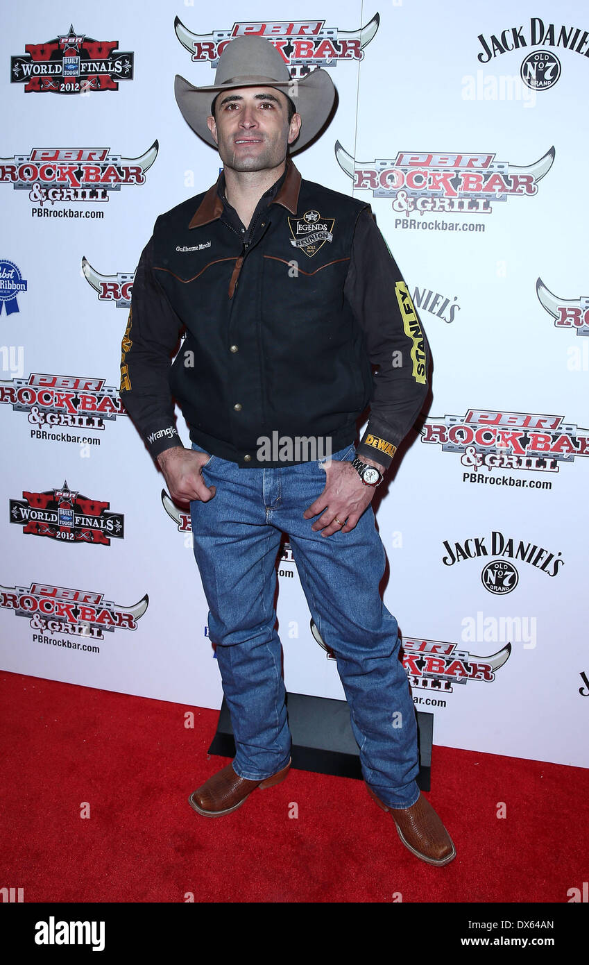 Guilherme Marchi Professional Bull Rider Superstars walk the red carpet at PBR Rock Bar inside The Miracle Mile Stock Photo