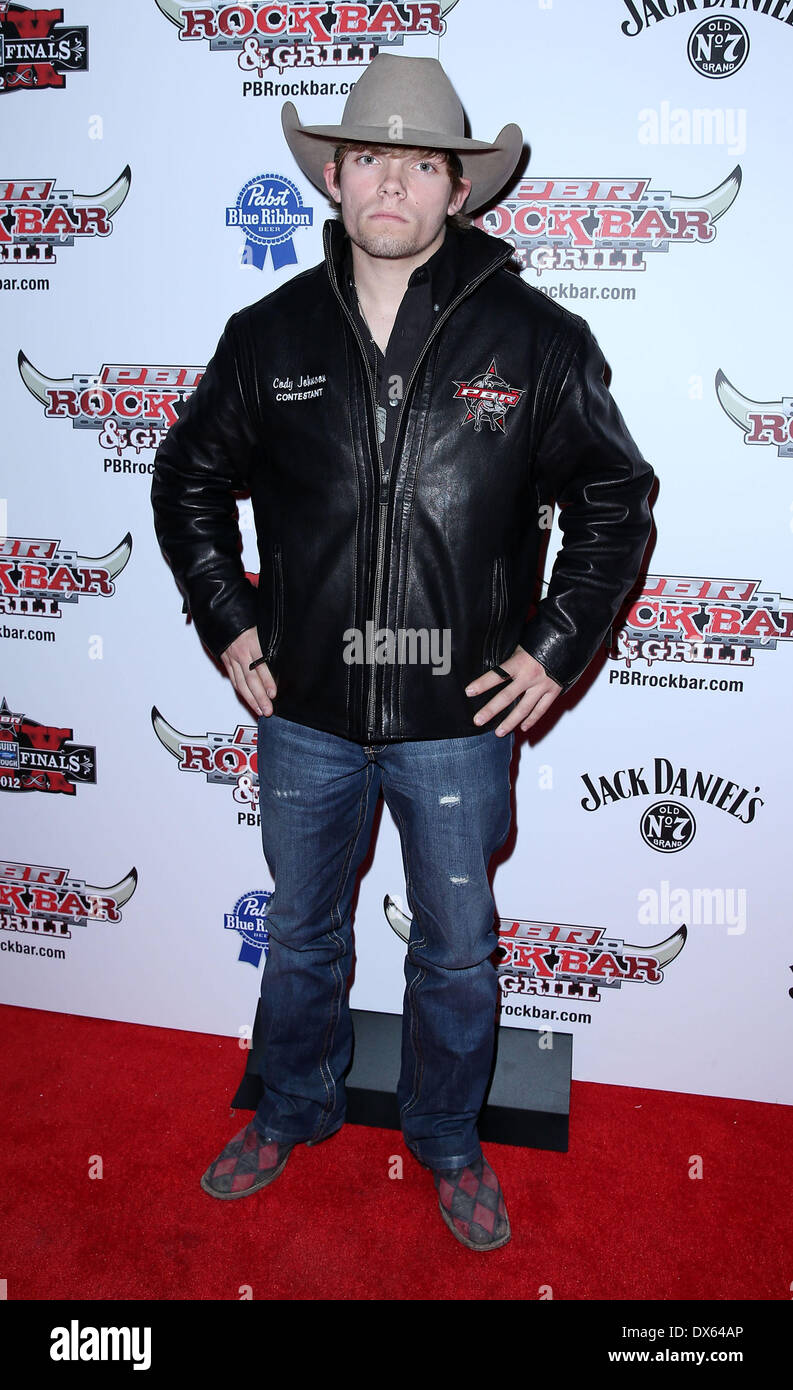 Cody Johnson Professional Bull Rider Superstars walk the red carpet at PBR Rock Bar inside The Miracle Mile Shops at Planet Hollywood Resort and Casino Las Vegas, Nevada - 26.10.12 Featuring: Cody Johnson Where: United States When: 26 Oct 2012 - Stock Image