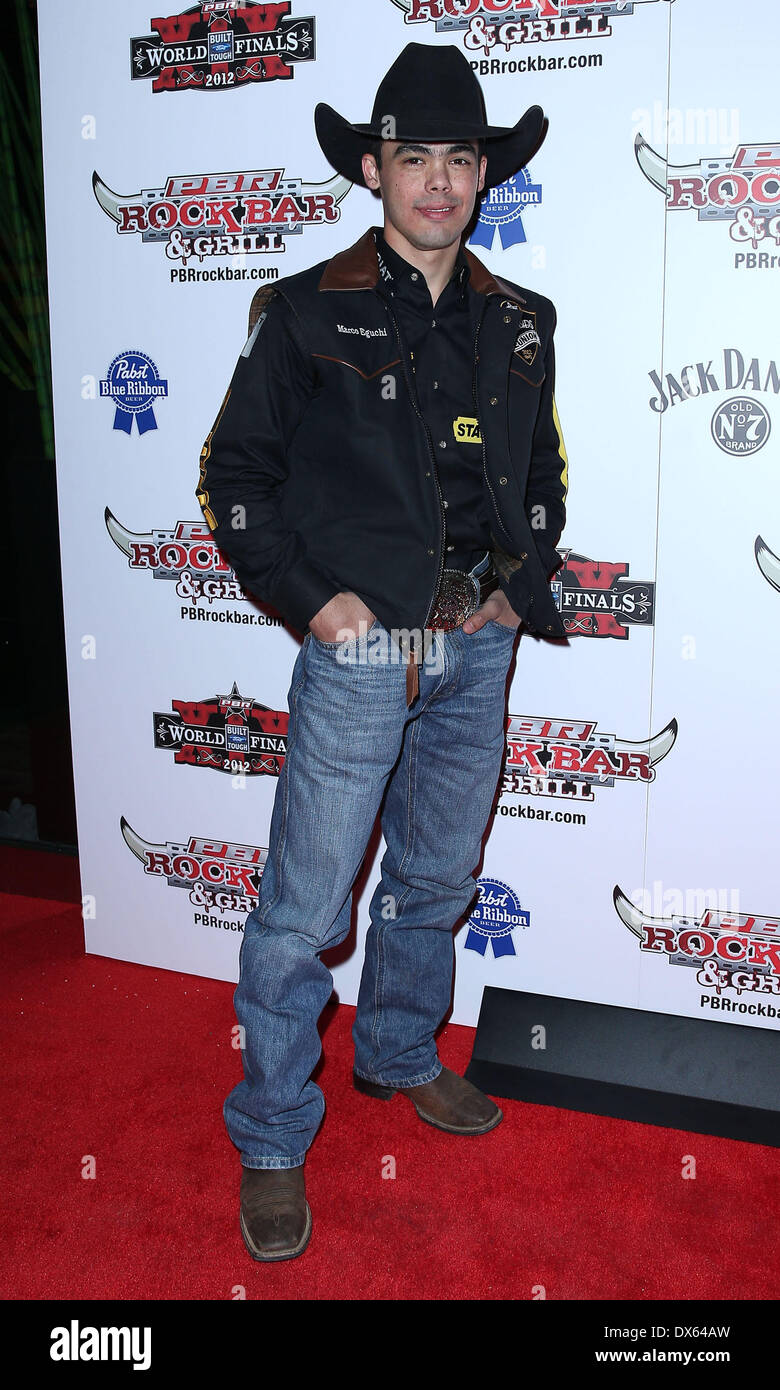 Marco Eguchi Professional Bull Rider Superstars walk the red carpet at PBR Rock Bar inside The Miracle Mile Shops at Planet Hollywood Resort and Casino Las Vegas, Nevada - 26.10.12 Featuring: Marco Eguchi Where: United States When: 26 Oct 2012 - Stock Image