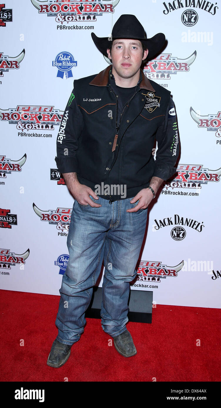 L J Jenkins Professional Bull Rider Superstars walk the red carpet at PBR Rock Bar inside The Miracle Mile Shops at Planet Hollywood Resort and Casino Las Vegas, Nevada - 26.10.12 Featuring: L J Jenkins Where: United States When: 26 Oct 2012 - Stock Image