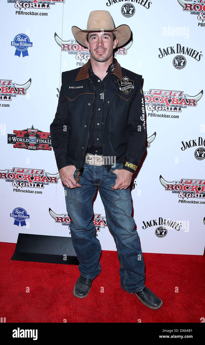 Kody Lostroh Professional Bull Rider Superstars walk the red carpet at PBR Rock Bar inside The Miracle Mile Shops at Planet Hollywood Resort and Casino Las Vegas, Nevada - 26.10.12 Featuring: Kody Lostroh Where: United States When: 26 Oct 2012 - Stock Image